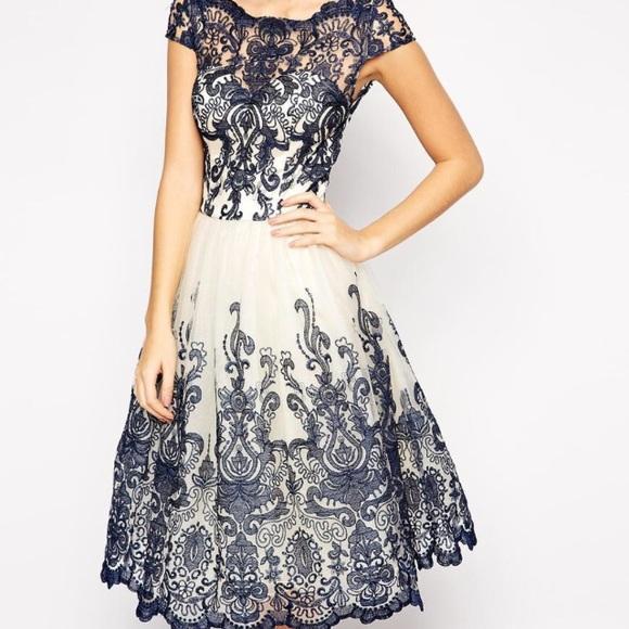ASOS Dresses   Chi Chi London Lace Dress Wbardot Neck Size Uk 8 ... 3c086c395e